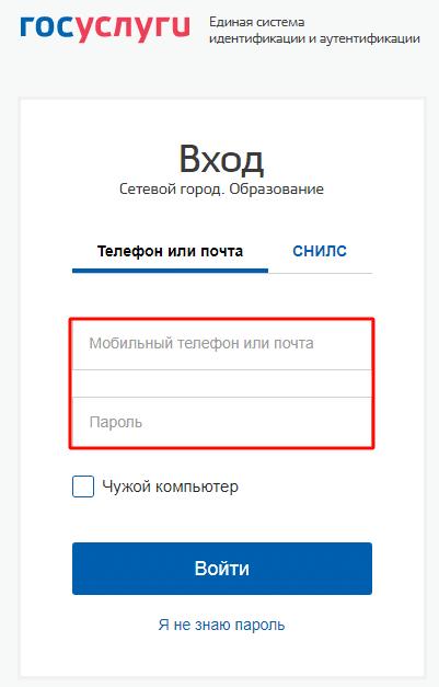Ввод логина и пароля от системы ЕСИА